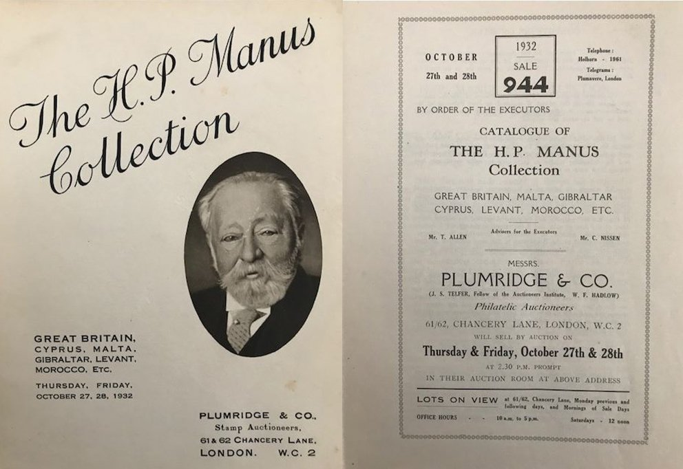 image of the catalogue of HP Manus colelction auctioned by plumridge & Co