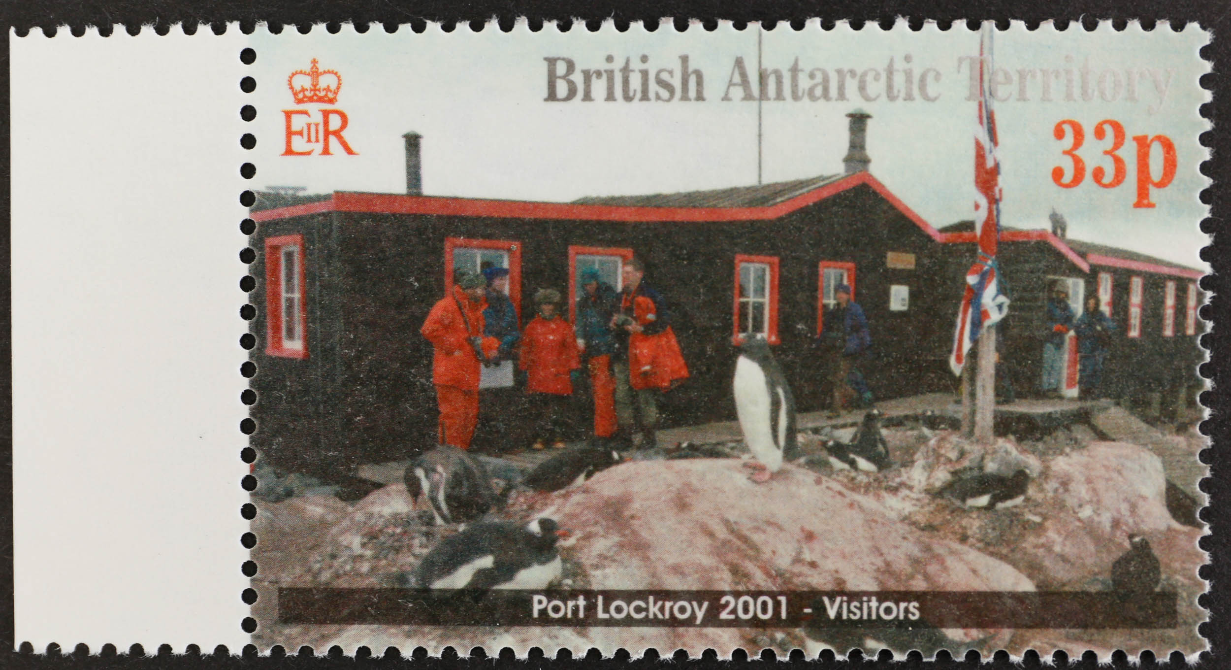 2001 Port Lockroy 33p value with watermark reversed and printed on the gum side. UM Cat. £375