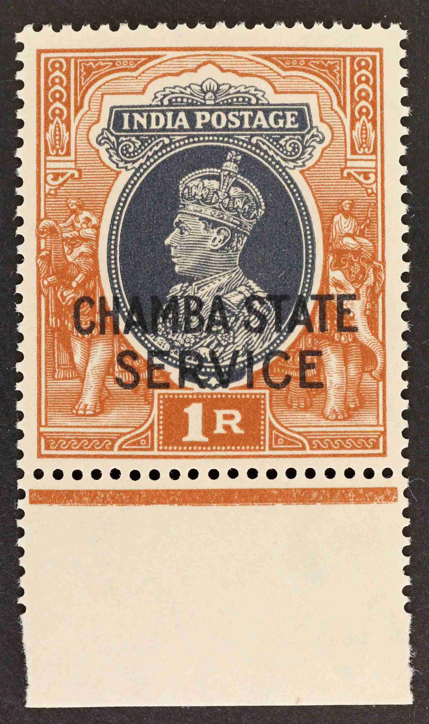"ndia ""1940 CHAMBA 1r. grey and brown optd with type O 3 with bottom margin UM SGO68"
