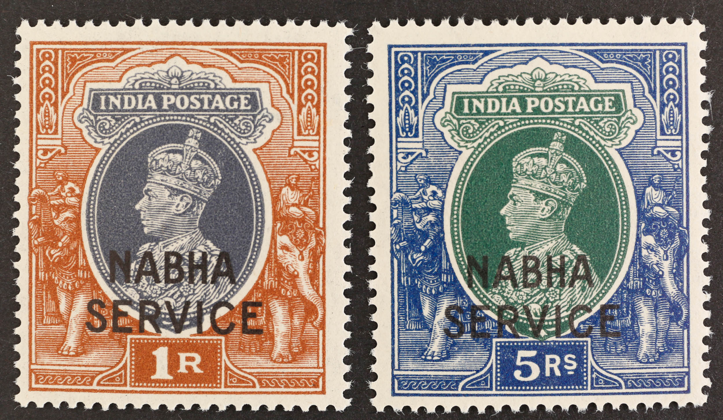 1942 NABHA 1r. grey and red-brown & 5r.green and blue optd with type TO11 UM SGO66 & O68 Cat. £287